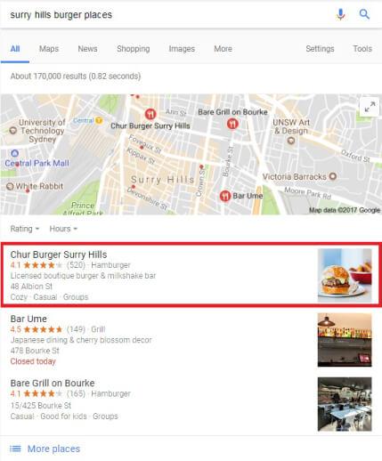 Chur Burger GMB Listing Result