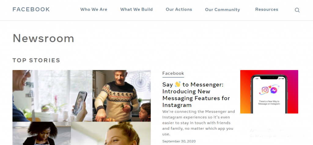 WordPress Portals - Facebook Newsroom