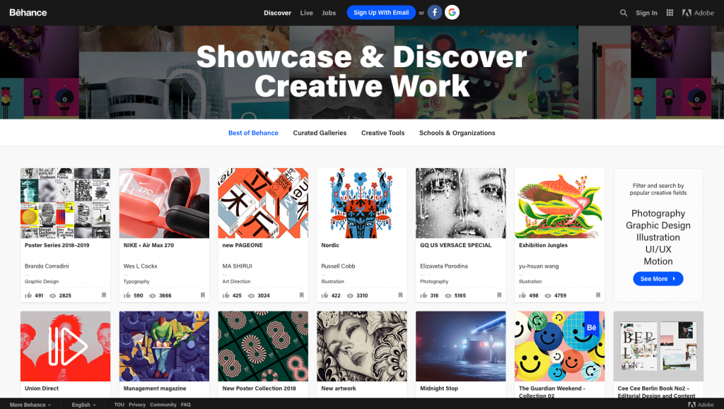 Behance Inspiring Websites