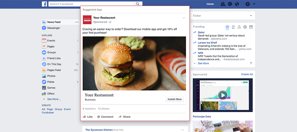 facebook restaurant ads