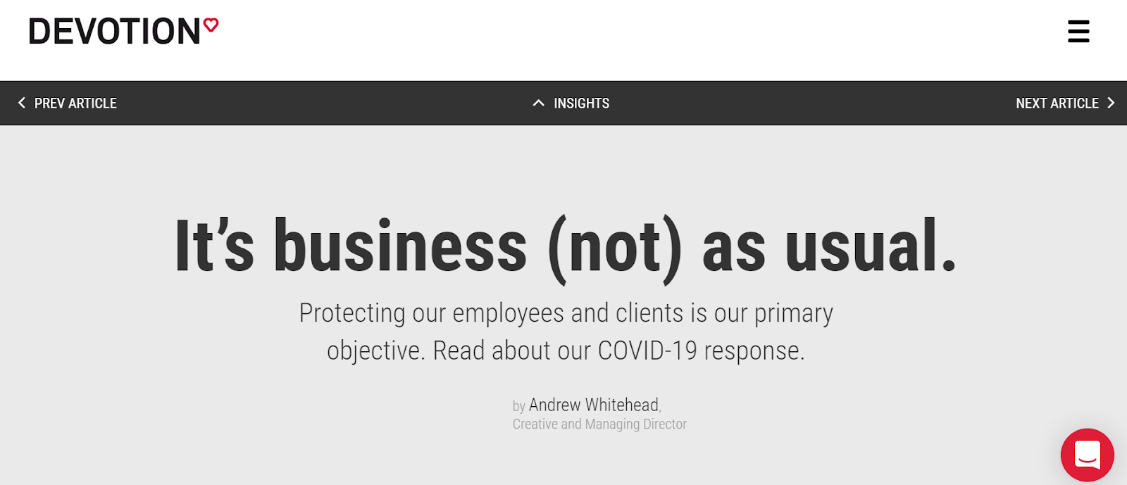 Devotion - a Sydney-based Digital Marketing Agency's response to COVID-19