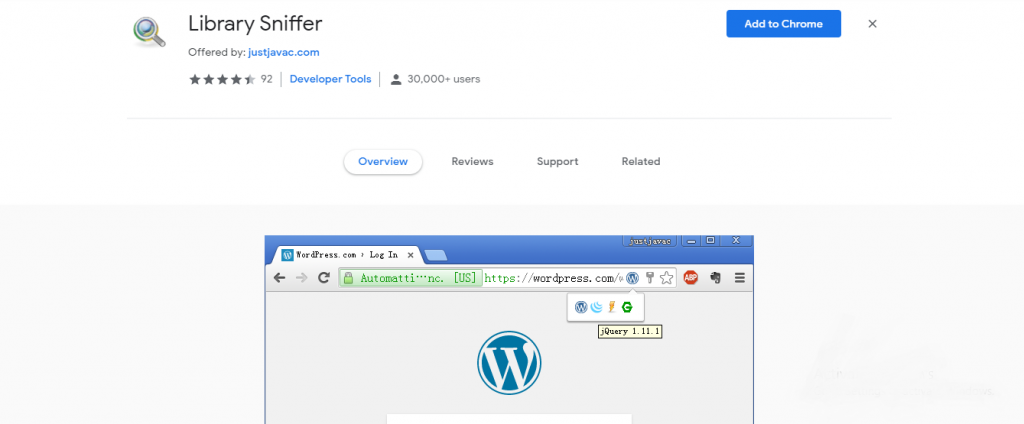 chrome tools for developers - Library Sniffer