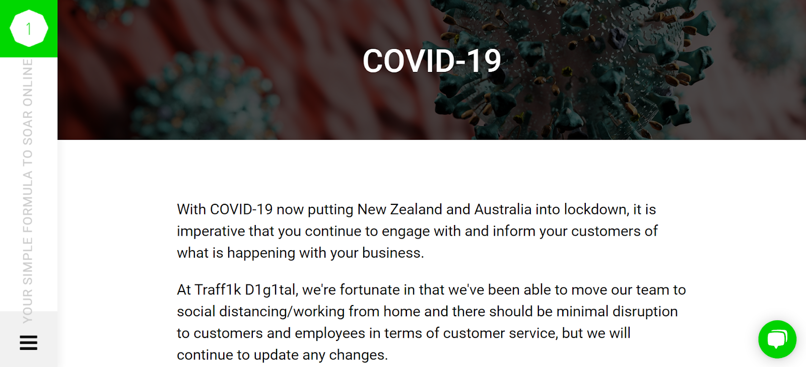 Traff1k D1g1tal - an Australia-based Digital Marketing Agency's response to COVID-19