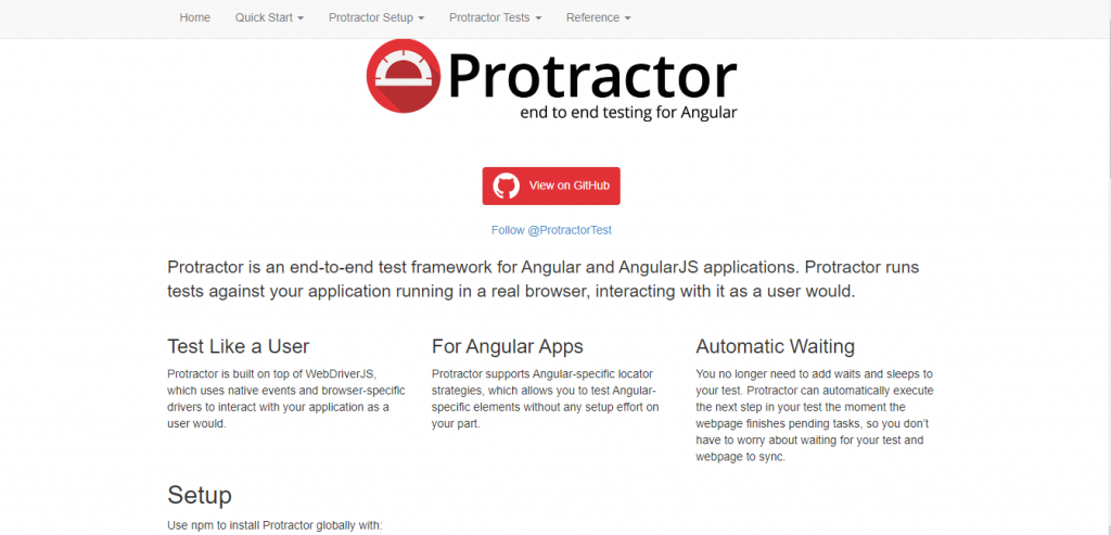 angularjs development tool - Protractor