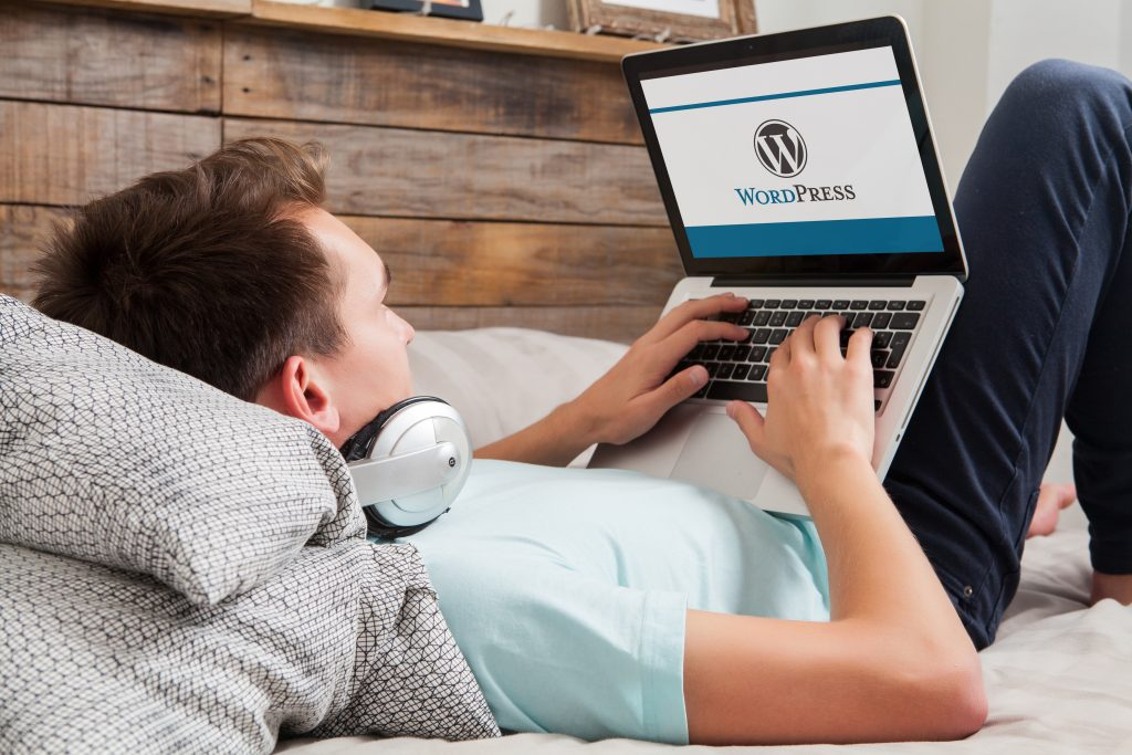 a man using wordpress